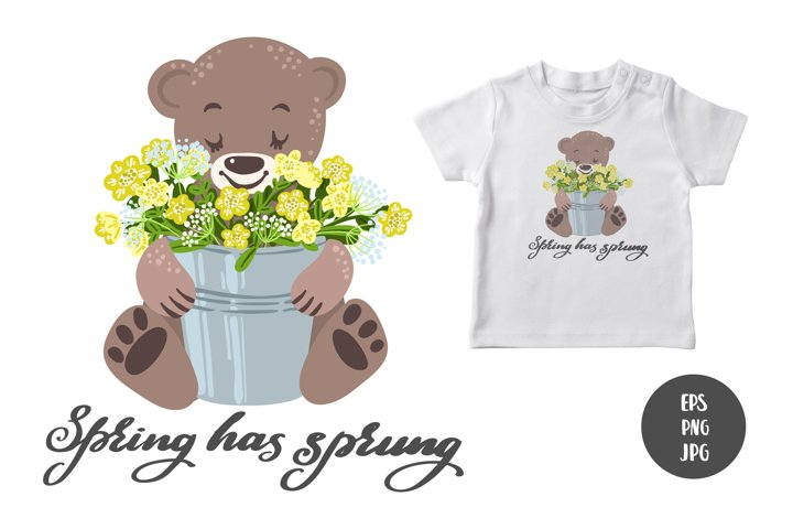 Baby Bear and spring flowers sublimation design download