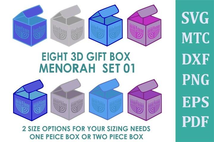Hanukkah 3D Gift BOX Menorah 8 Boxes SVG Cut File