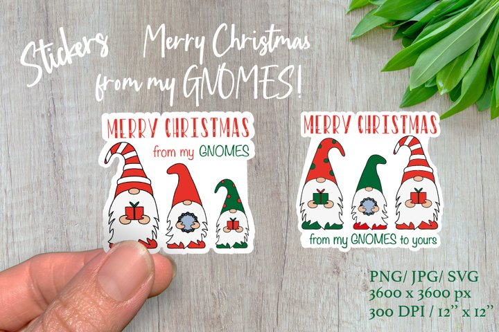 Christmas gnomes. Merry Christmas stickers.