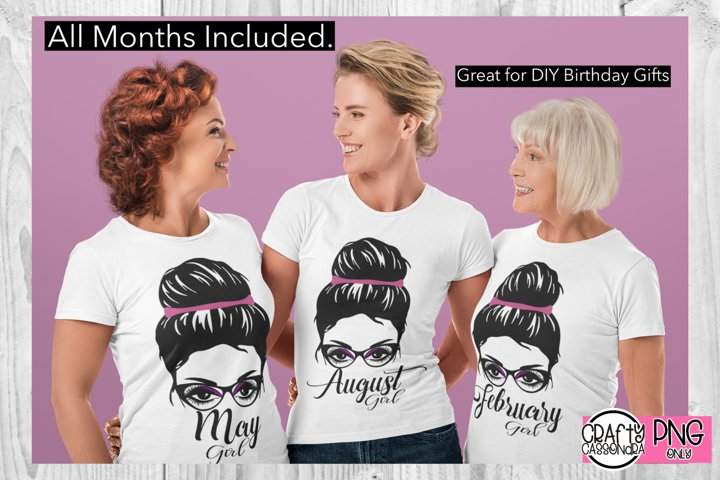 Birthday months / girl with bun and glasses / sublimation