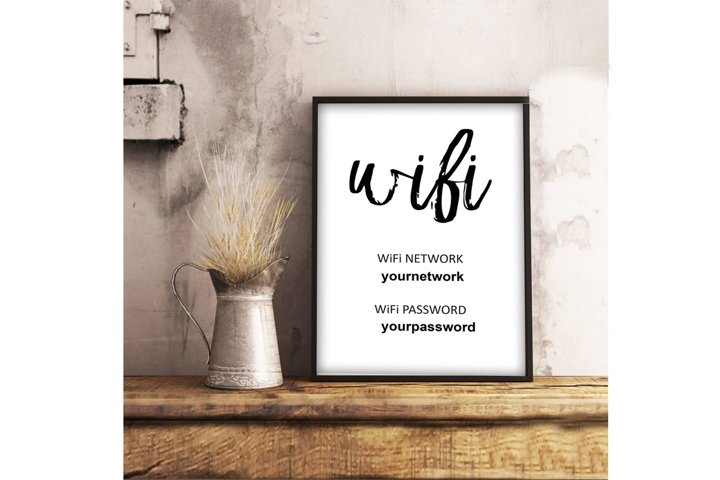 Wifi Password Printable, Wifi Password Sign, Brush Lettering