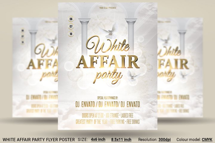 White Affair Party Flyer Poster