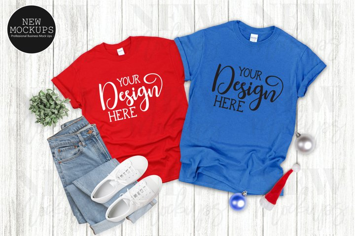 Gildan 500 Christmas Couples Red & Royal Shirt Mockup