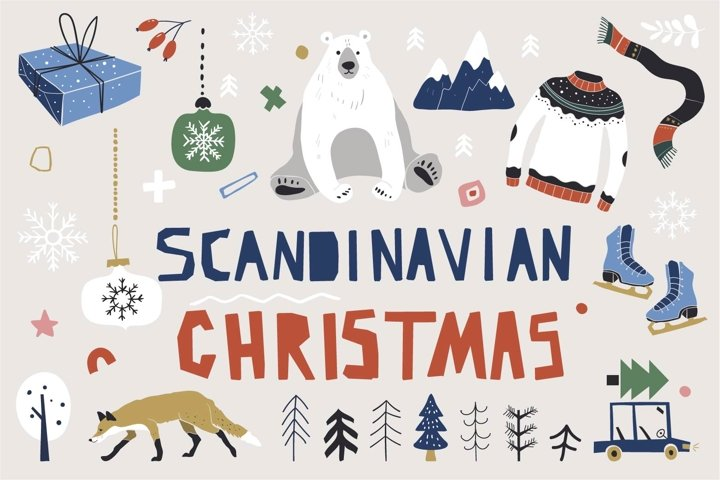 Nordic Christmas collection. New Year. Vector Clipart
