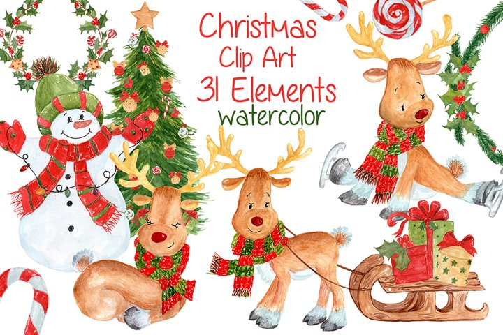 Watercolor Christmas kids clipart