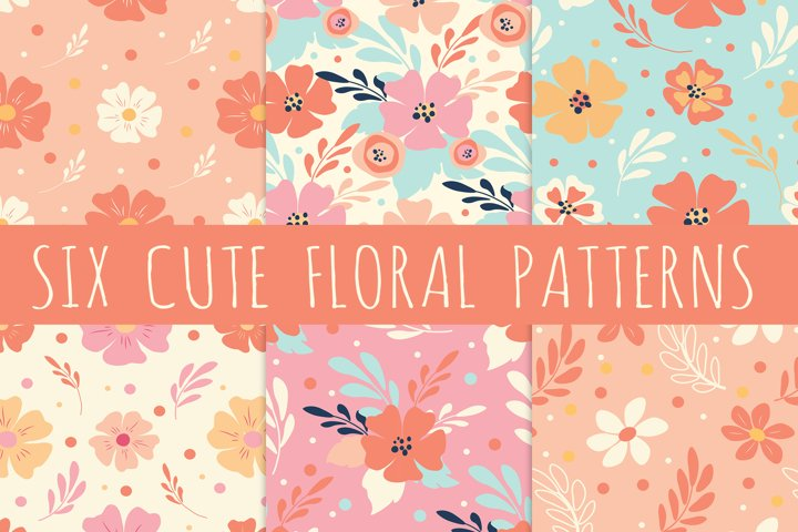 six cute seamless pattern with hand drawn floral ornaments