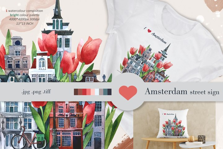 Amsterdam watercolour street, city skyline jpg png tiff
