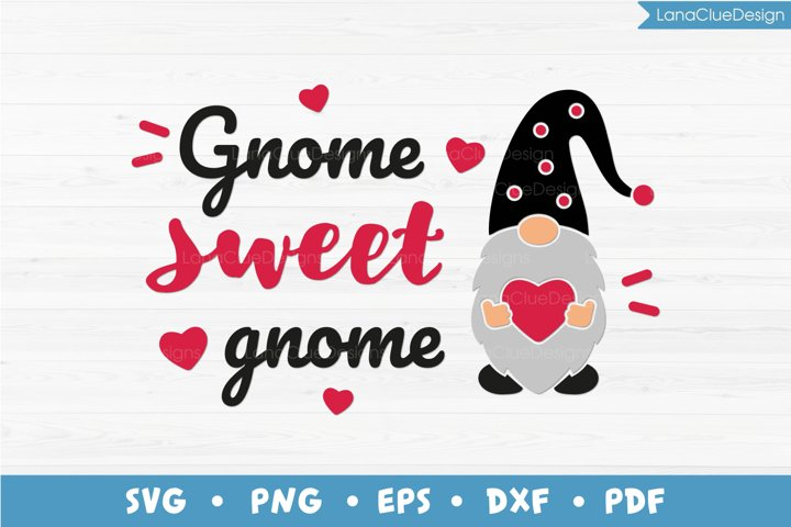 Gnome Sweet Gnome, Gnome with Heart SVG PNG DXF EPS PDF