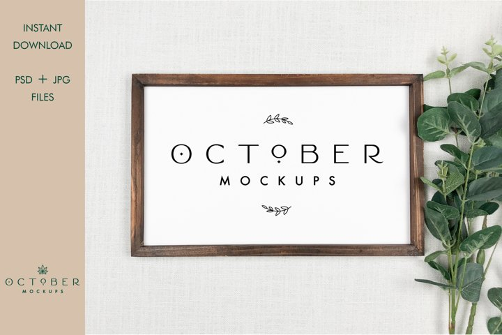 Frame Mockup in PSD and JPG | Rustic Wooden Sign mockup