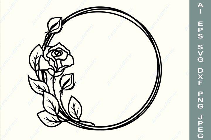Rose frame svg, Floral wreath svg, Flower border svg