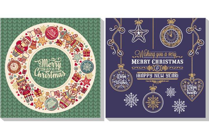 Christmas template for Greeting card. Christmas invitation. Xmas flyer