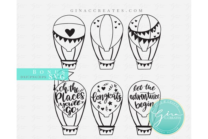 Hot Air Balloons SVG, Wedding theme and Graduation Theme