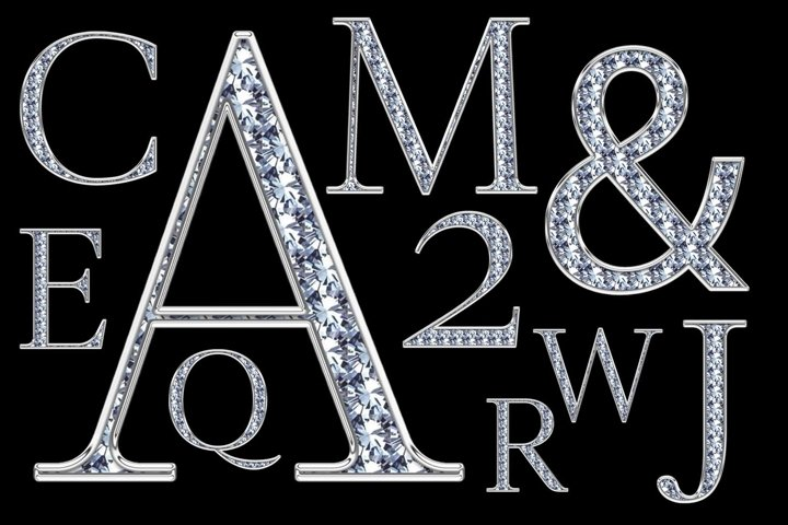 Silver Alphabet with Diamonds A to Z and numbers