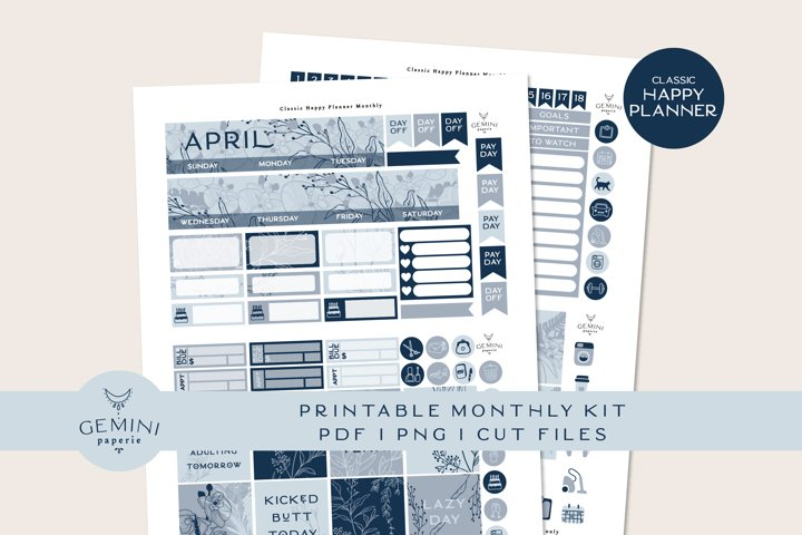 Classic Happy Planner Monthly Printable Planner Sticker Kit