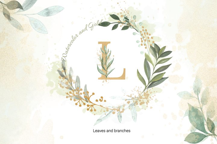 watercolor and gold Leaves and foliage Clipart set