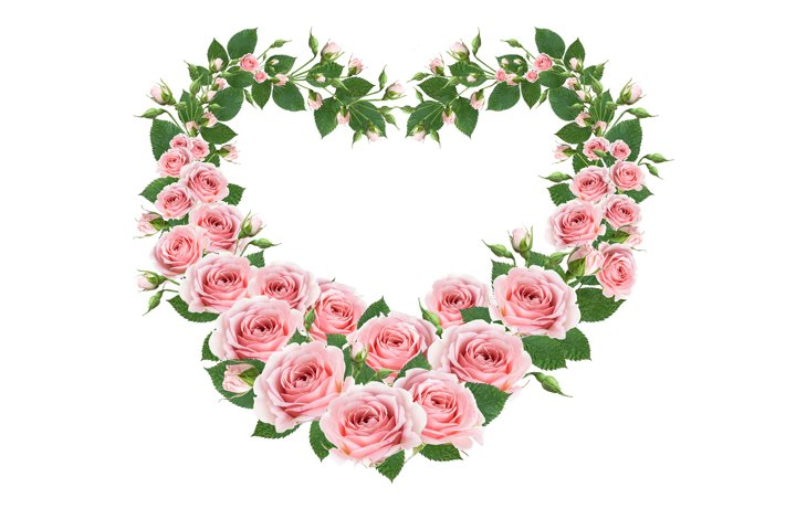 Greeting heart frame woven from blooming pink roses