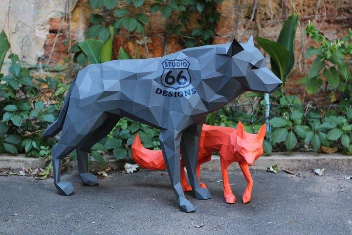 Papercraft Wolf, Paper Fox, 3D Dog Papercraft, Wolf Statue