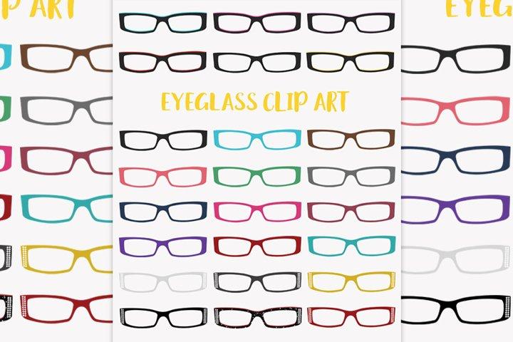 Eye glasses fashion clipart set