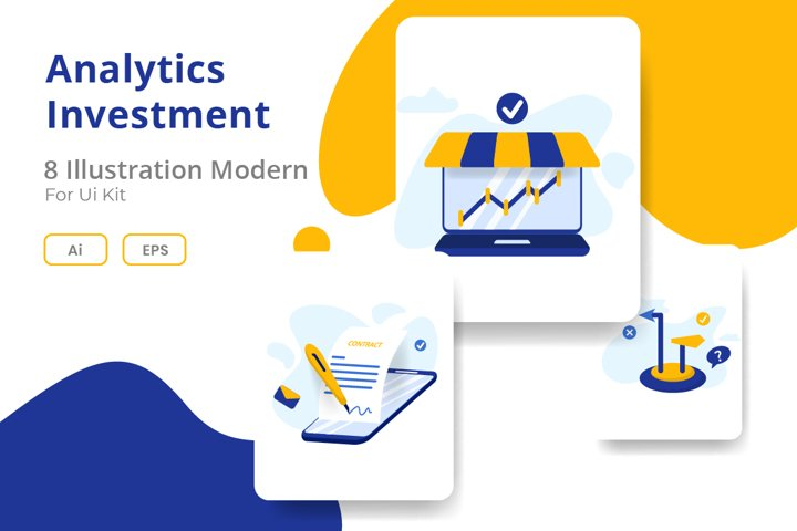 Analytics and Investment Website onboarding screens