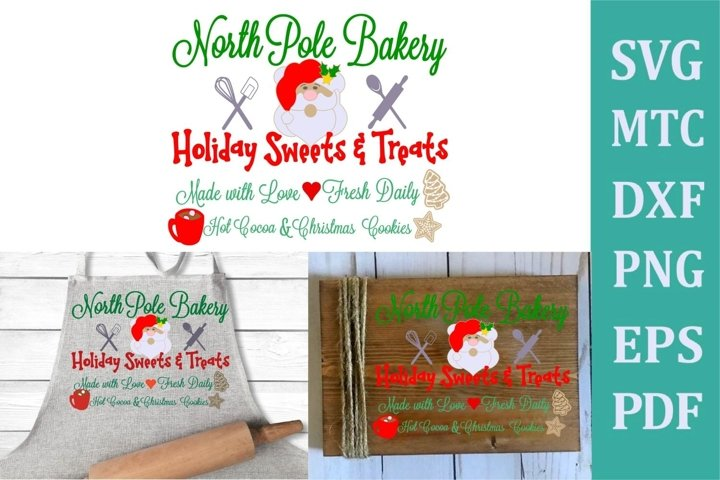 North Pole Bakery Christmas Sign #01 SVG Cut File