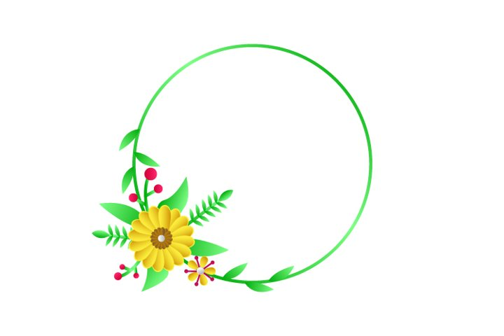 Modern Circle Frame Floral Template Graphic