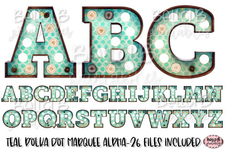 Teal Polka Dot Marquee Alphabet Letters, Sublimation Letters