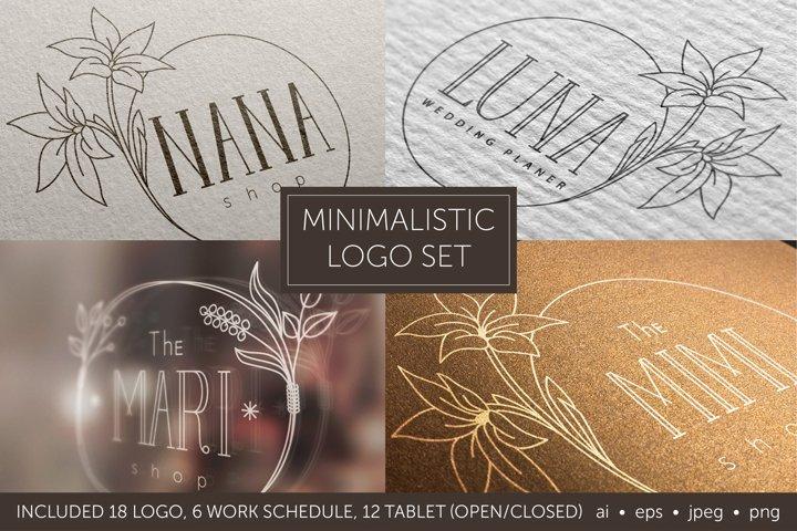 Minimalistic logo set. Logo templates. Schedule.