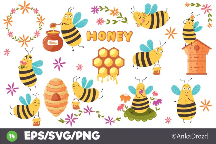 Set Baby Yellow Bee clipart. Cute Honey Bee SVG clip art