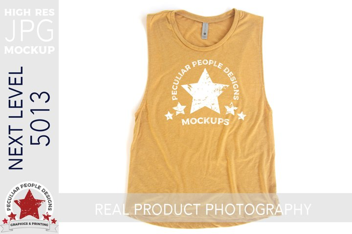 Muscle Tank Shirt Mockup JPG Next Level Flat Lay 5013 Gold