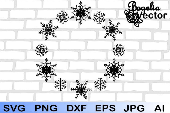 Christmas Snowflake Frame Svg, Snowflake Wreath Svg, Holiday