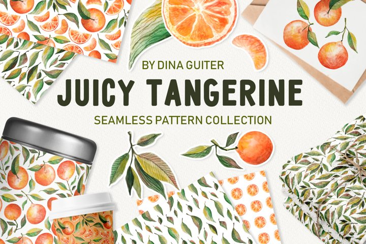 Watercolor Tangerine Seamless Pattern Collection