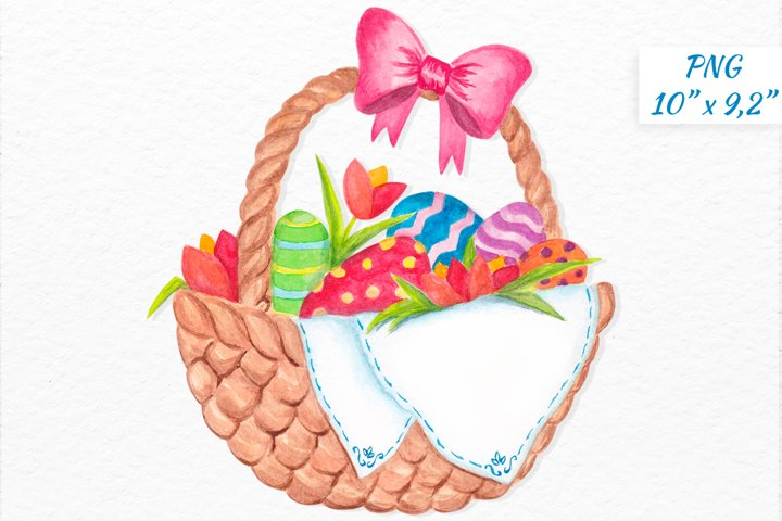 Watercolor Easter basket with colorful eggs clipart design