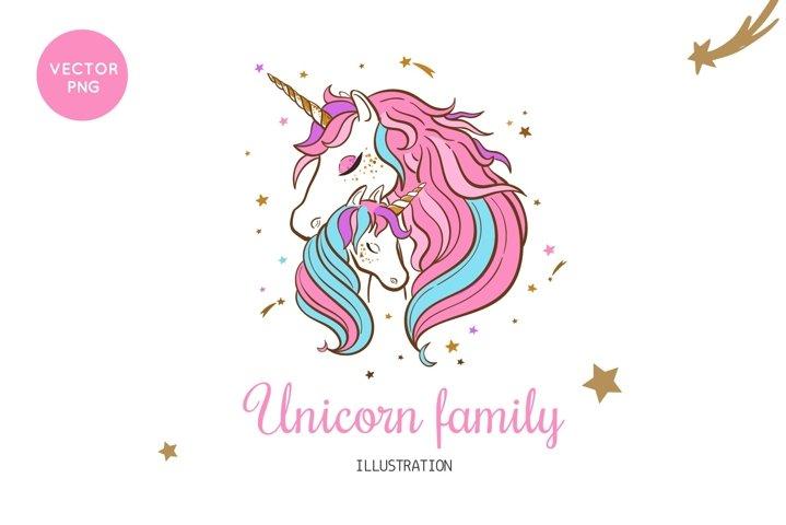 Unicorn family mom and child illustration