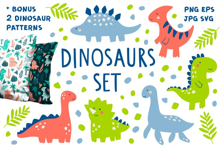 Doodle Dinosaur Set. Cute Dino Characters and 2 Patterns