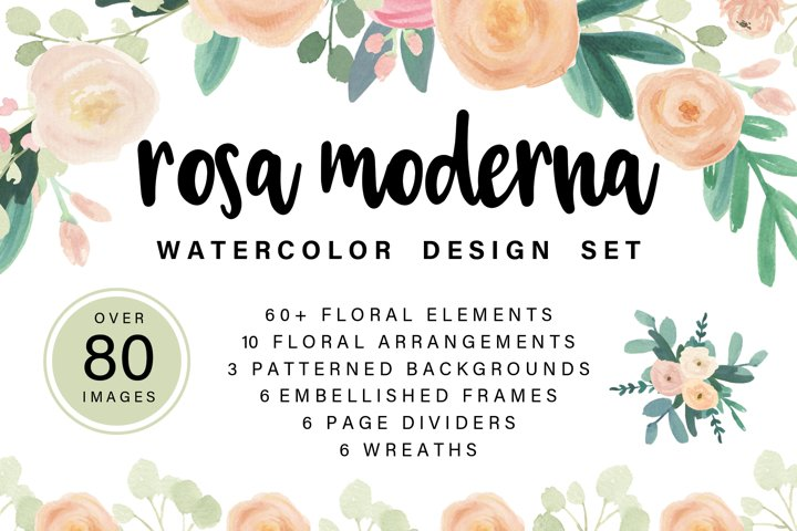 Rosa Moderna Watercolor Design Elements