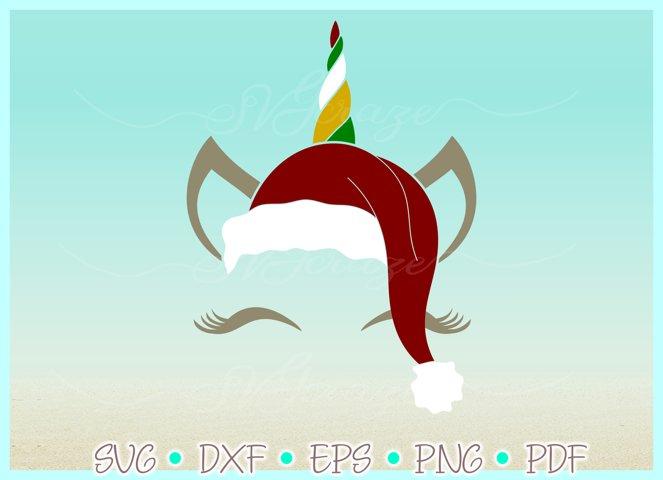Unicorn Face Santa Hat Christmas Deer SVG DXF EPS PDF PNG example 1