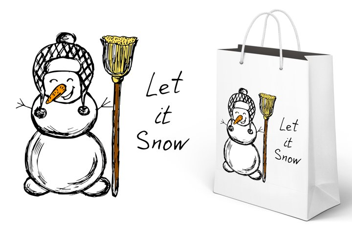 Let it snow. Snowman with a broom
