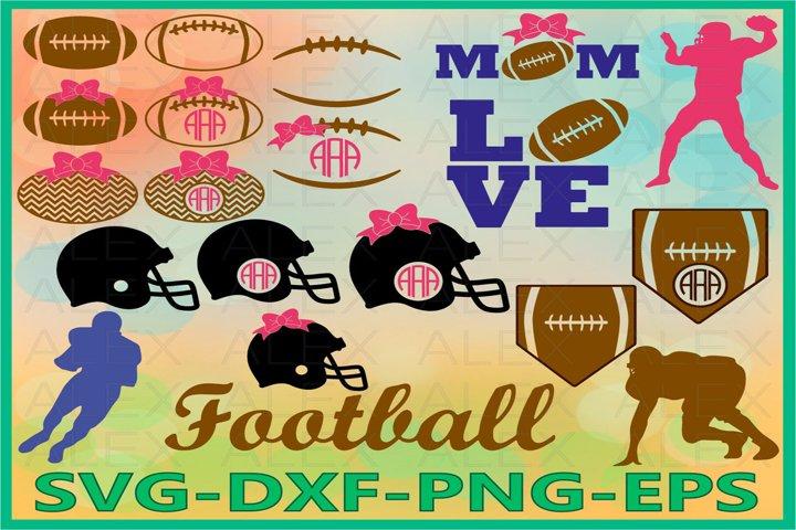 Football SVG, Football Laces Svg, Football Monogram Svg