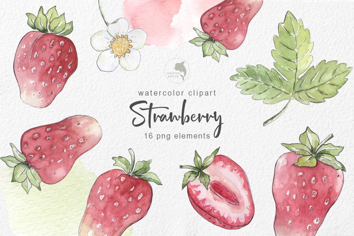 Strawberry watercolor clipart