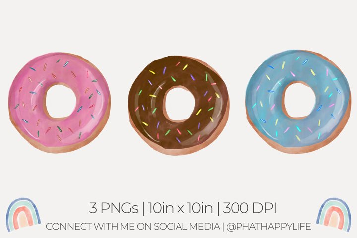 Watercolor Donuts Sublimation - 3 Watercolor PNGs
