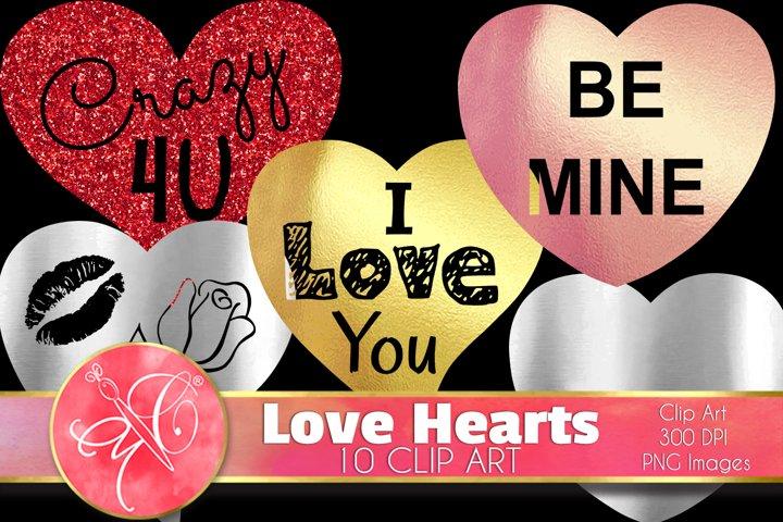 Hearts Clip Art / Scrapbook, Overlays, Element