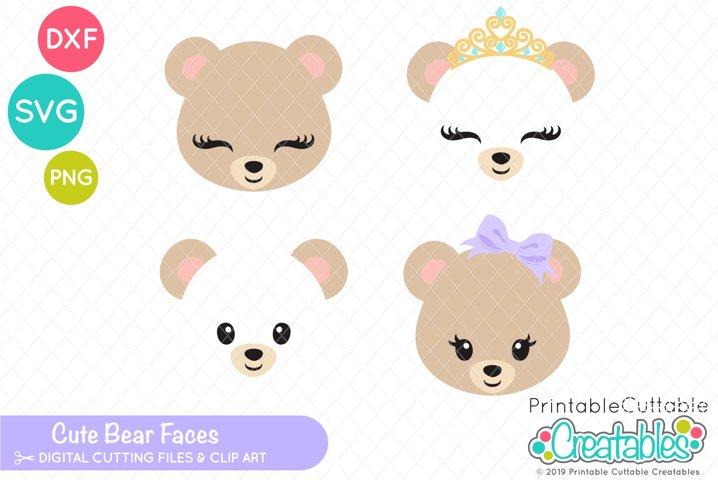 Cute Bear Faces SVG Set