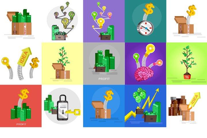 Money profit concept set