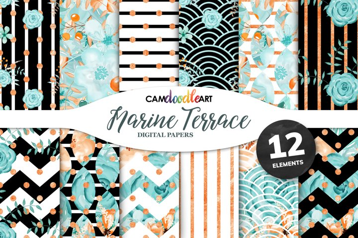 Green and Orange Floral Digital Papers