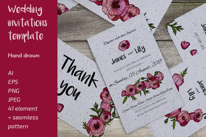 Wedding collection with hand drawn poppy flowers