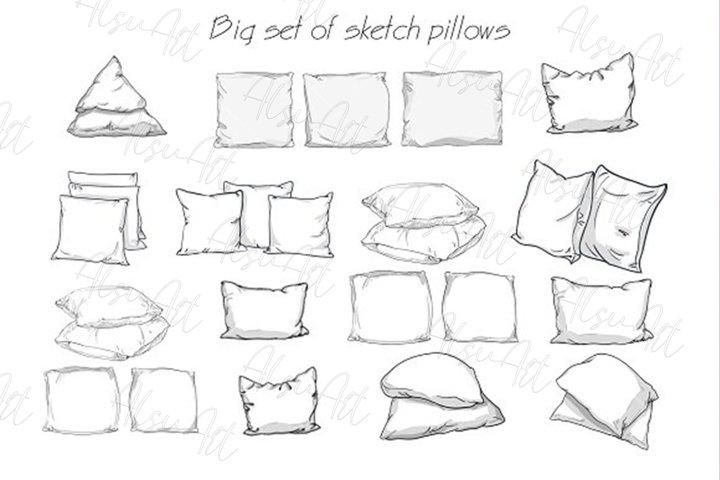 Big set of sketch pillows