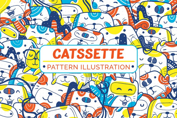 Catssette Pattern Illustration
