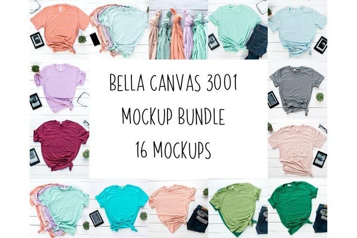 16 High Quality Bella Canvas Unisex 3001 T-shirt Mockup,