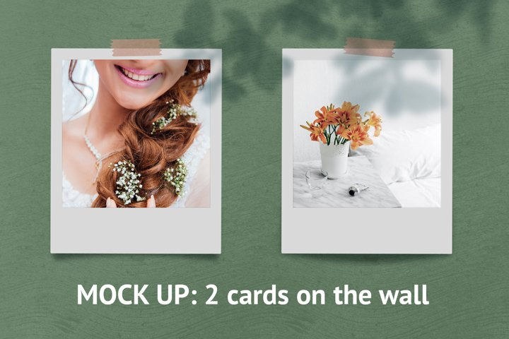 2 photo cards on the wall mock up