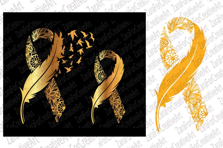 Childhood Cancer svg gold Ribbon Feather and Birds SVG